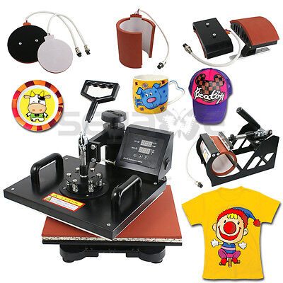 5in1 Digital Transfer Sublimation Heat Press Machine T-Shirt Mug Hat Plate 12x15