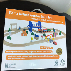 Wooden Train set - Deluxe made with real wood collectible