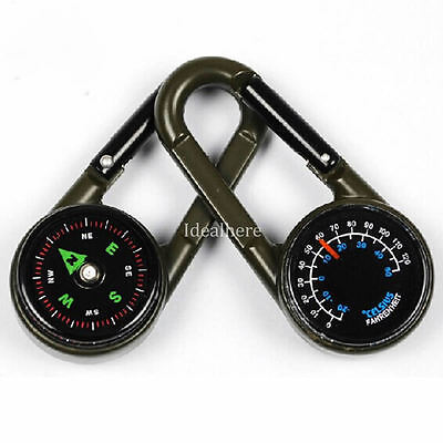 Mini Multifunctional Hiking Metal Carabiner Compass Thermometer Keychain Camping