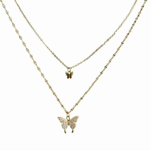 Charm 925 Silver Double Butterfly Zircon Necklace Clavicle Women Jewelry Gifts 6