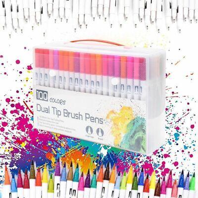 100 Color Watercolor Brush Pens Dual Tips Soft Fine Art Markers Pen Drawing Xmas