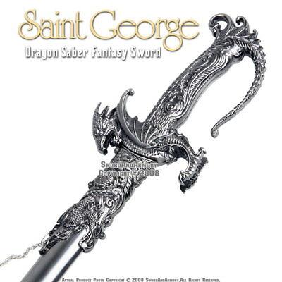 Saint George Dragon Saber Fantasy Medieval Knight Sword Metal Scabbard (Knight Sword)