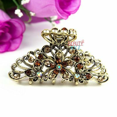 Hot Sale Brown Crystal high quality Metal Flowers design Hair Claw Clip Pin