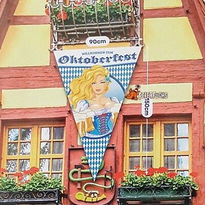 Riesen Wimpel BANNER Fahne 1,50x 0,90m Oktoberfest Bayern Deko blau-Weiß #1493