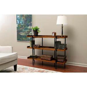 Modern Wood and Steel 3 shelf display, Cherry