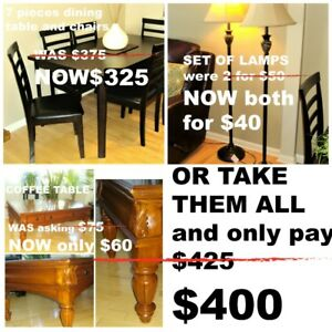NEW CONDITION: DINING SET, COFFEE TABLE, and SET of LAMPS