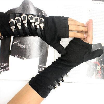 Rare PUNK Rock MJ Michael Jackson BAD tour Dirty Diana Matel Arm braces Glove - Mj Gloves
