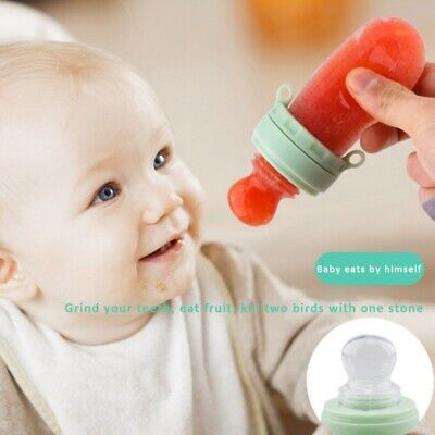 Portable Baby Food Fruit Nipple Feeder Pacifier Safety Soft Silicone Feeding Set