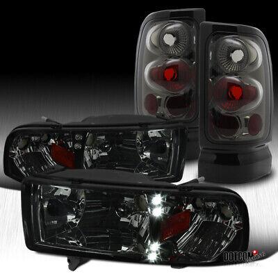 For 1994-2001 Dodge RAM 1500 2500 3500 Pickup Smoke LED Headlights+Tail Brake