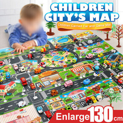 Children Play Mat Road Buildings Parking Map Game Scene Educational Toy Car Map
