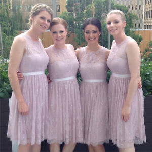 3x light pink lace bridesmaid dresses