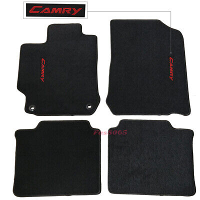 Fits 12-17 Toyota Camry Black Nylon Floor Mats Carpets w/ Red Camry Embroidery Crimson Floor Mat