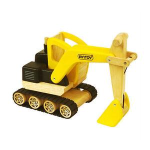 Pintoy 07568 Löffelbagger für Baustelle Digger aus Holz Bagger (88712) NEU!  #