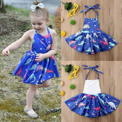 USA Toddler Kids Baby Girls Dinosaur Romper Dress Bodysuit Jumpsuit Outfits Set - Childrens Dinosaur Outfit