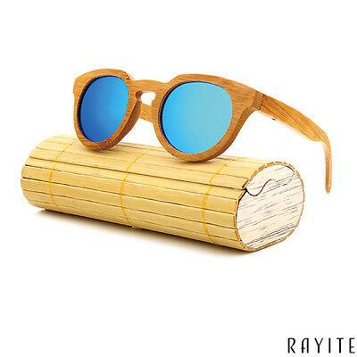 Rayite Wooden Sunglasses Bamboo Women Polarized Round Eyewear Christmas (Wooden Sunglasses India)