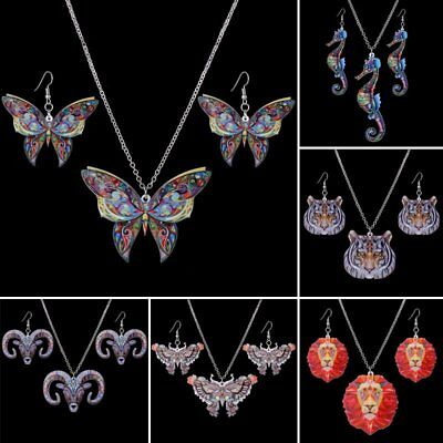 Fashion Printing Animal Butterfly Panda Tiger Necklace Earrings Jewelry Set Gift ()