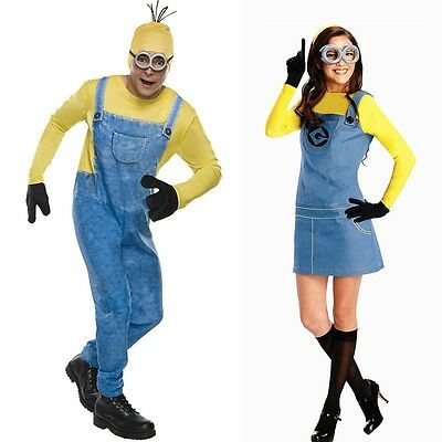 Minion Costume Halloween Adults women and men Jumpsuits + Glasses Party Clothes