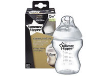 Free Tommee Tippee Closer to Nature 260ml/9ozSingle Baby Bottle&Teat 0m BPA free+25 new born nappies