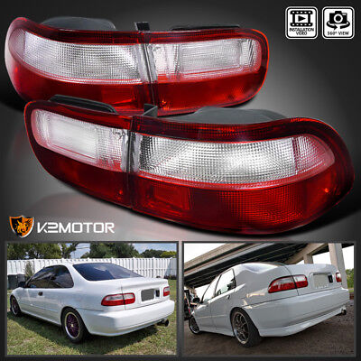For 92-95 Honda Civic 2Dr 4Dr JDM Red & Clear Tail Lights Brake Lamps (2dr Left Tail Lamp)