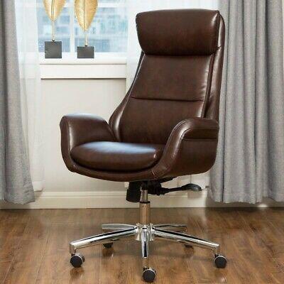 Corrigan Studio Harkness Executive Leather Computer Desk Chair Coffee / Brown