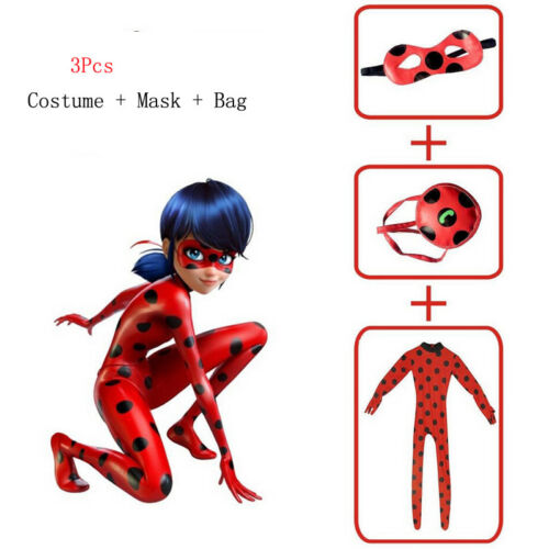 Kids Baby Girl Miraculous Ladybug Cosplay Costume Mask Bag Jumpsuit Fancy Dress