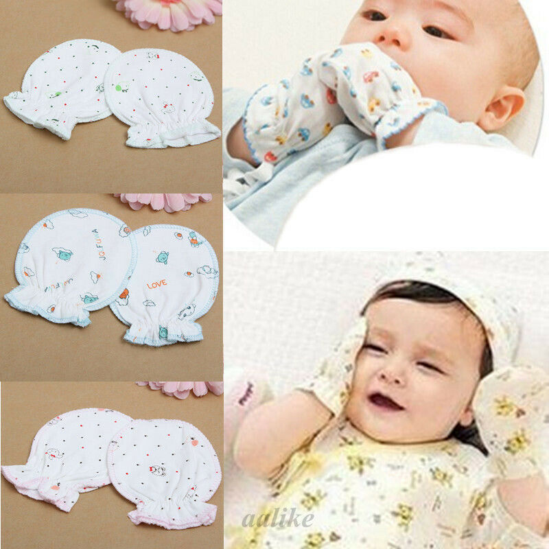 3Pairs Newborn Baby Soft Cotton Handguard Anti Scratch Mittens Gloves Infant