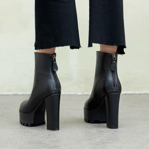 Details about  /34//43 Women Smart Round Toe Platform High Heel Zip Up Winter Warm Ankle Boots L
