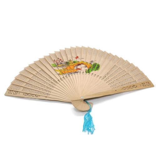 Vintage Asian Painted Bridge and Woman Folding Sandalwood Fan with Blue Tassel