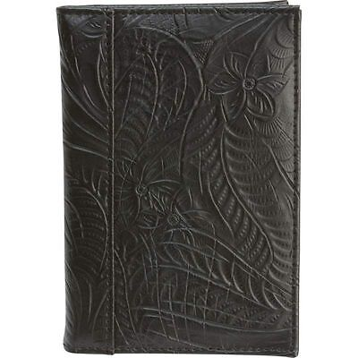 Black Tooled Design Leather Passport Cover, Men Travel US ID Card Protect Wallet