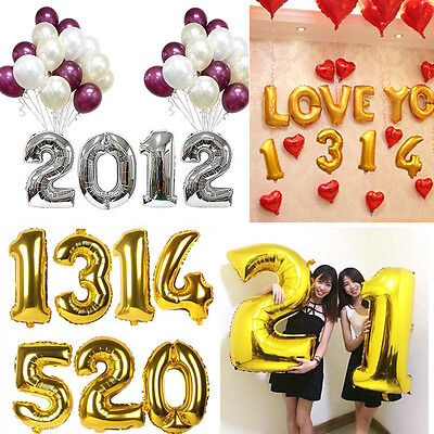 1pcs 40cm Cute Silver Numbers Letters  Foil Balloons Birthday Decoration Ballon (Silver Ballons)