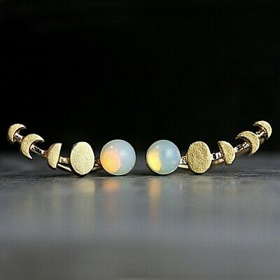 womens silver & 14K Gold Filled Waxing Moon and opal ear climbers cuff earrings