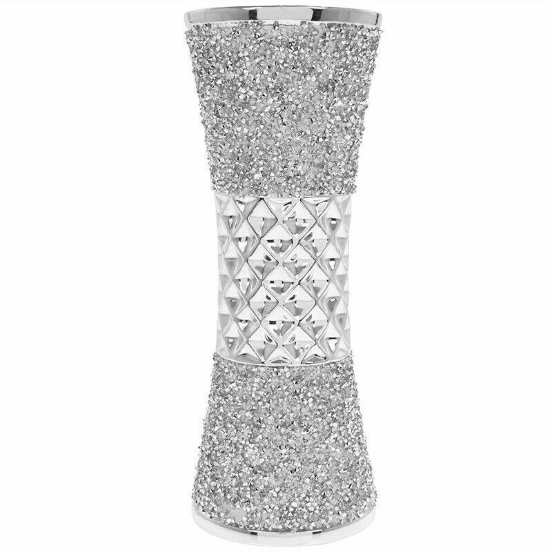 Home Decoration - Stylish Silver Flower Vase Sparkle Bling Textured Home Decoration Ornament 20cm