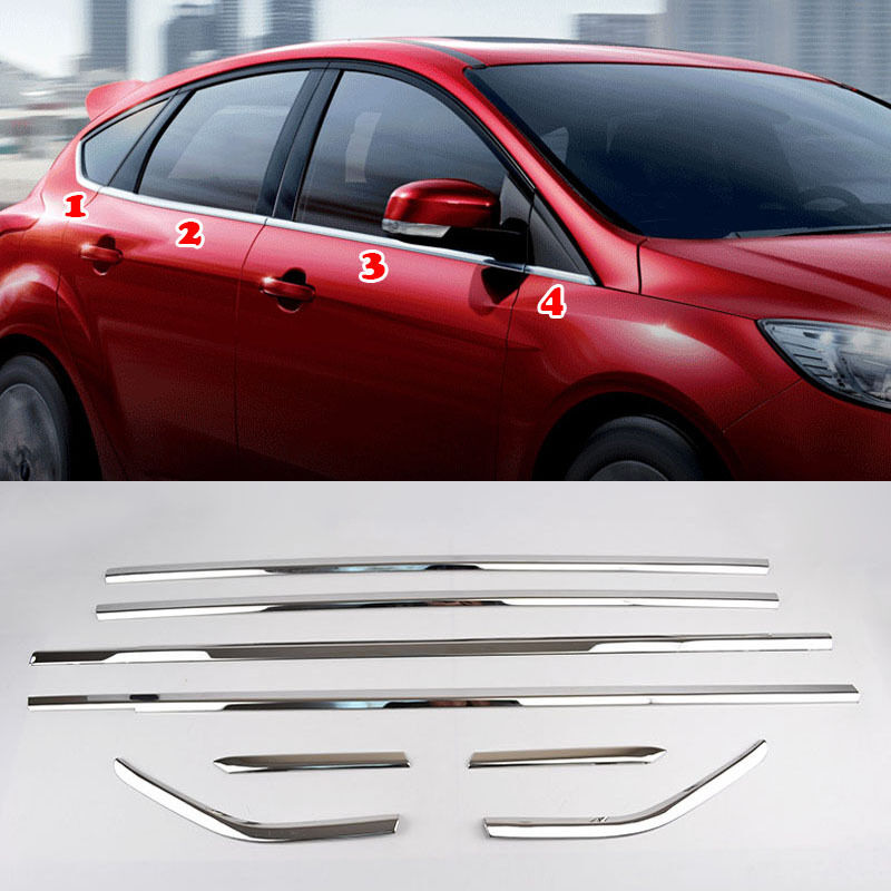 Fit For 12-17 Ford Focus Hatch Chrome Bottom Door Window Sill Cover Trim Molding
