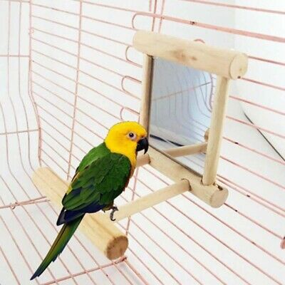 Wooden Mirror Bird Toy Accessories Animal Parrot Cage Hanging Stand Bar Toys