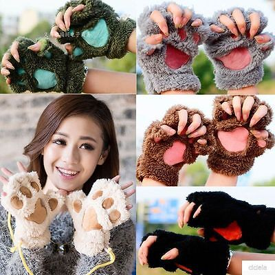 Winter Womens Paw Gloves Fingerless Fluffy Bear Cat Plush Paw For Xmas Gift