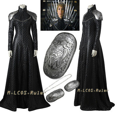 New Game Of Thrones 7 Cosplay Cersei Lannister Costume Hallowmas Dress Any Size