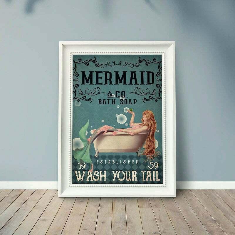 Mermaid , Co.bath Soap-Wash Your Tail Poster, Mermaid poster, Bathroom Wall Art
