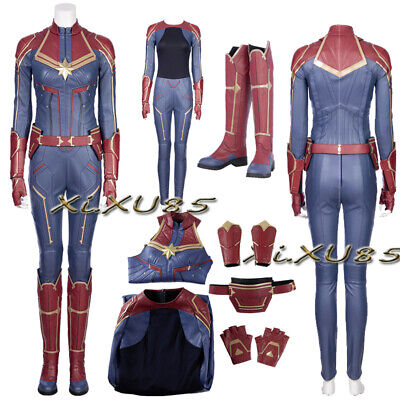 Superheo Marvel Captain Marvel Carol Cosplay Costume Customize Boots Halloween