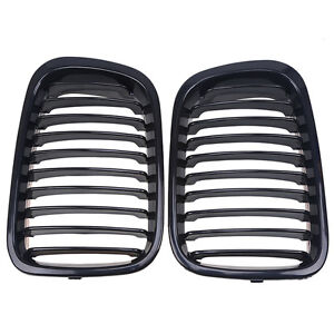 2x Gloss Black Front Kidney Grill Grille for BMW 3-Series E46 Compact 2001-2005