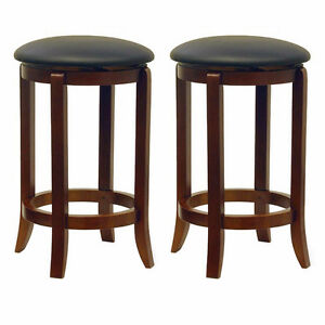 Faux Leather Swivel Set Bar Stool, Walnut