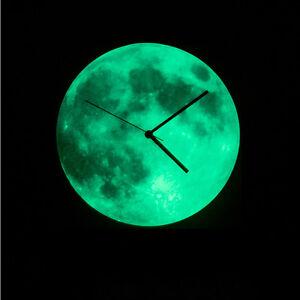 glow in the dark moon wall clock home decor clocks