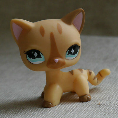 """LPS #886 LITTLEST PET SHOP Light brown short hair cat kitty  TOY 2"""""""