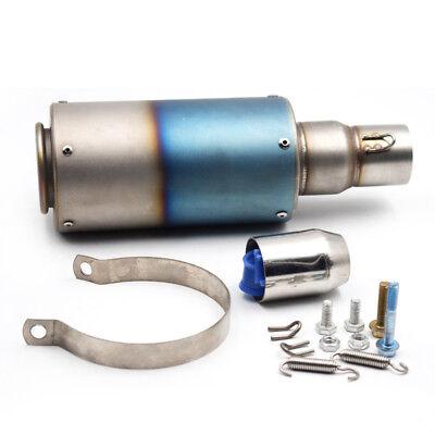 51MM Stainless Steel Motorcycle Street Dirt Bike Exhaust Muffler Pipe Half Blue