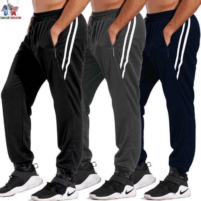 Men's Sport Pants Long Trousers Tracksuit Fit Workout Jogger