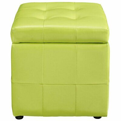 Modway Volt Square Faux Leather Storage Ottoman in Light Green ()