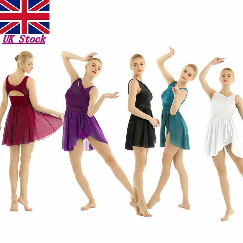 Women Adult Ballet Lyrical Modern Leotard Dance Gymnastics Dress Crop Top Skirt