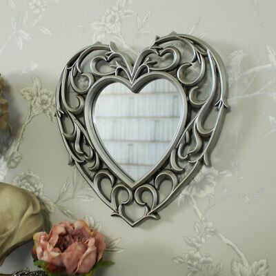 Silber Herz Form Filigranarbeit Wandmontage Spiegel Billig Kunstvoll Chic Girly