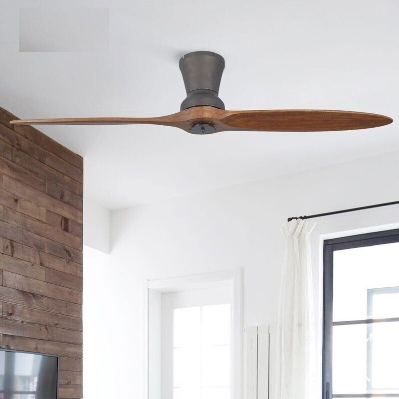 LED Wooden Ceiling Fan With Lights Modern Without Light Deco