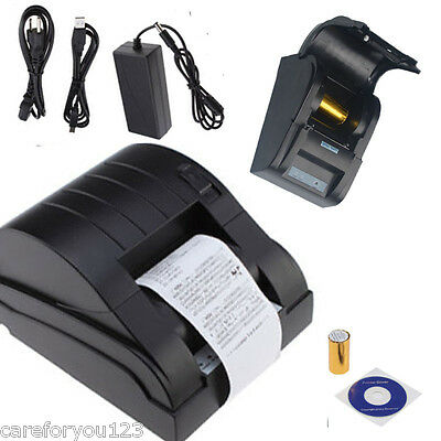 USB 58mm POS Printer 384 Line Thermal Dot Receipt Printer Set w/Roll Paper Black