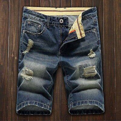 Mens Short Denim Jean Pants Casual Jeans Trousers Thigh Ripped Holes Shorts La